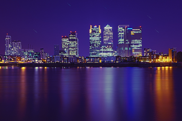 Canary Wharf seen from the O2