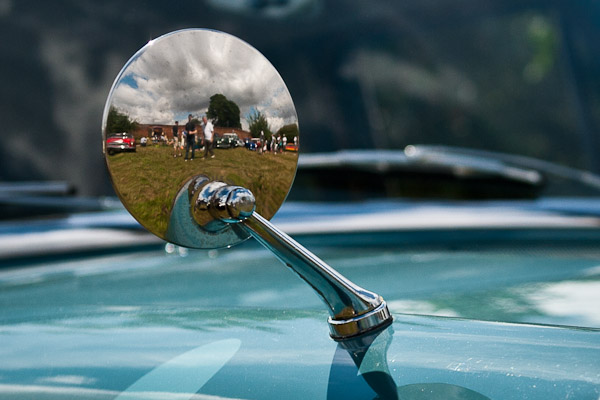 Reflections in a wing mirror