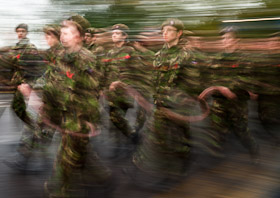 Army cadets marching during Remembrance Parade