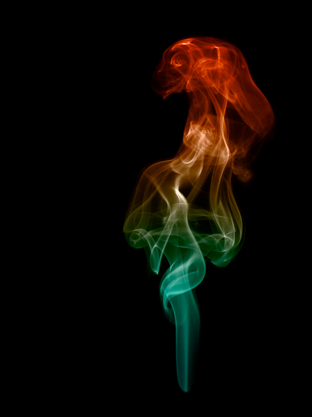 Picture of smoke trails in the shape of a cavalier