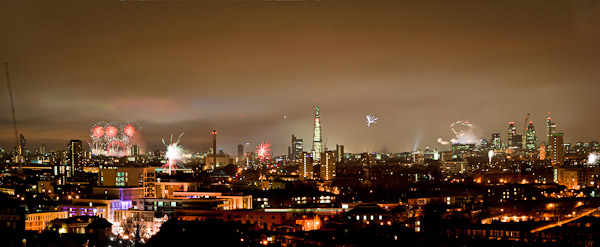 Panorama picture of fireworks over London