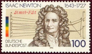 German stamp celebrating Isaac Newton's discovery of colours in light