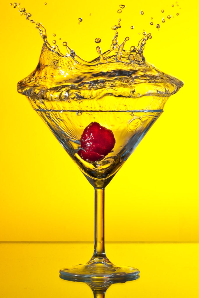 Martini Glass With Water Splash